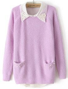 Purple Long Sleeve Pearls Pockets Sweater