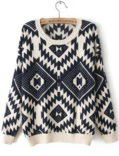 Beige Long Sleeve Geometric Pattern Sweater