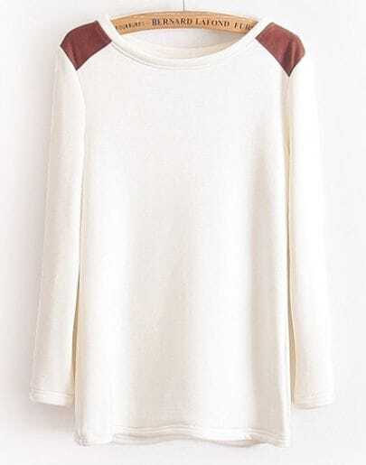 White Long Sleeve Contrast PU Leather Shoulder T-Shirt