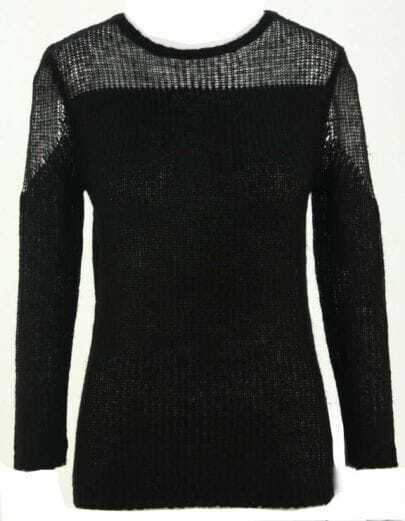 Black Contrast Sheer Panels Long Sleeve Loose Sweater
