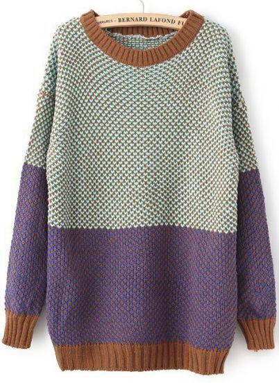 Blue Long Sleeve Vintage Loose Sweater