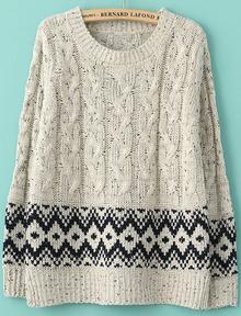 Beige Long Sleeve Split Geometric Pattern Sweater