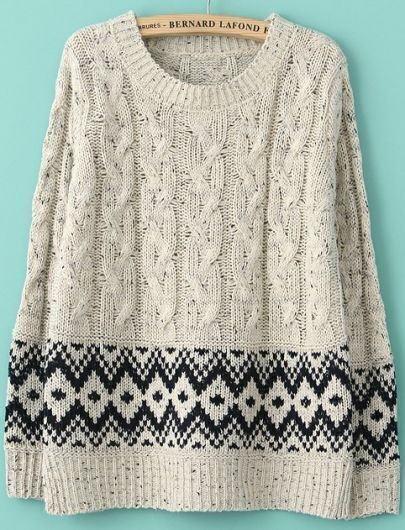 Beige Long Sleeve Split Geometric Pattern Sweater