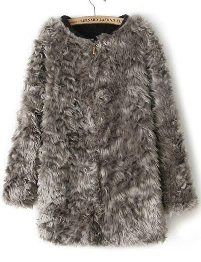 Grey Long Sleeve Zipper Faux Fur Coat