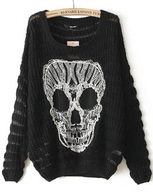 Black Long Sleeve Lace Skull Pattern Sweater