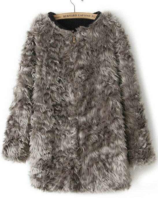 Grey Long Sleeve Zipper Faux Fur Coat -SheIn(Sheinside)