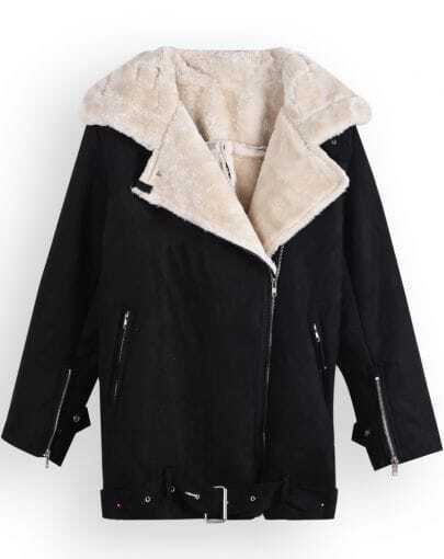 Black Lapel Long Sleeve Zipper Cuff Coat