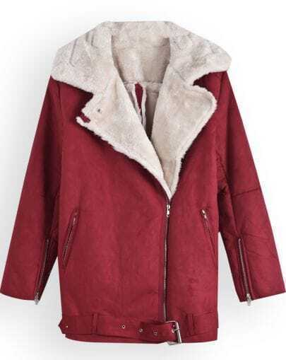 Red Lapel Long Sleeve Zipper Cuff Coat