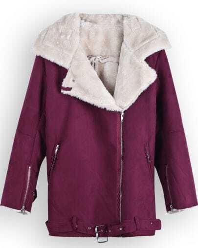 Rose Red Lapel Long Sleeve Zipper Cuff Coat