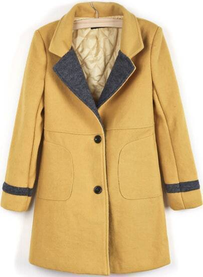 Yellow Lapel Long Sleeve Slim Woolen Coat