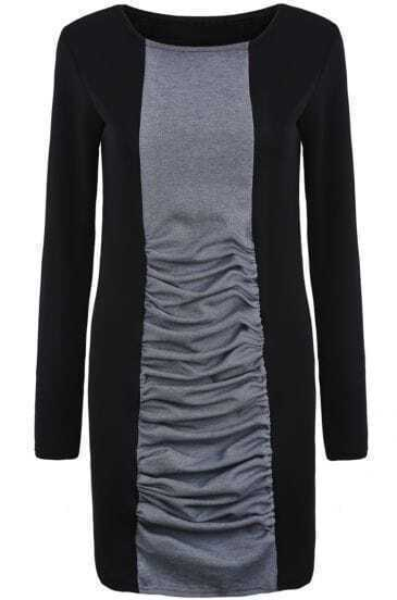 Black Contrast Grey Long Sleeve Bodycon Dress
