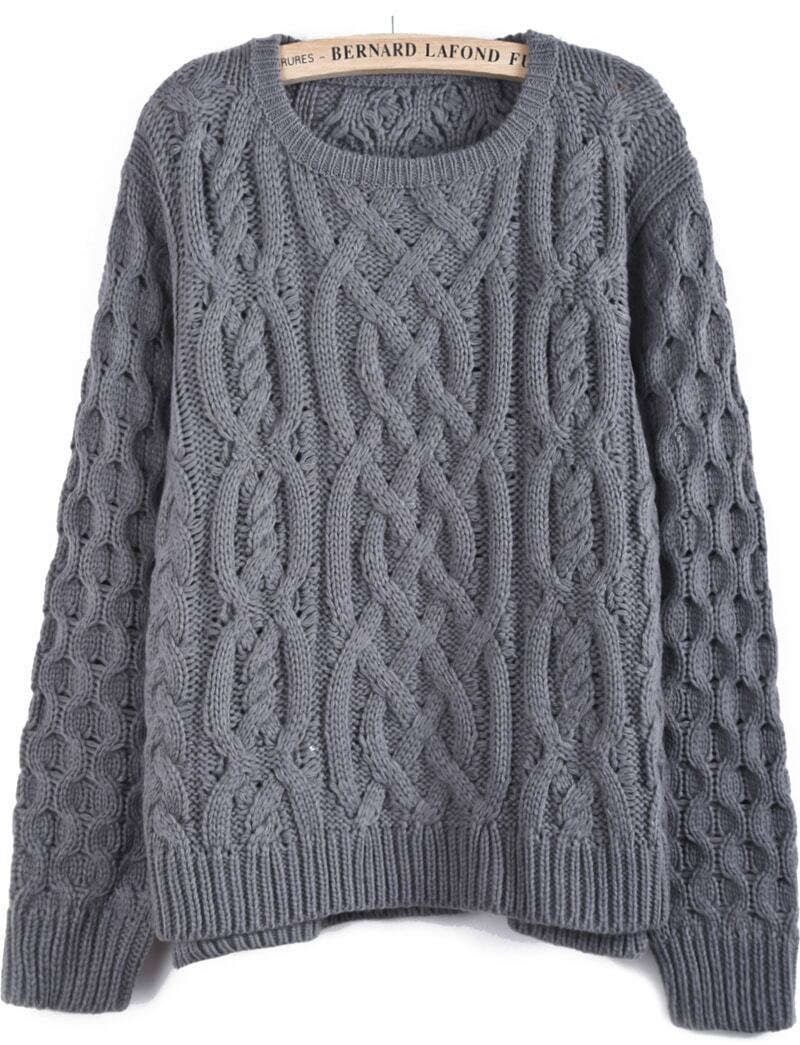 Grey Long Sleeve Cable Knit Dipped Hem Sweater -SheIn(Sheinside)