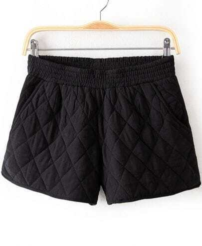Black Elastic Waist Diamond Patterned Shorts