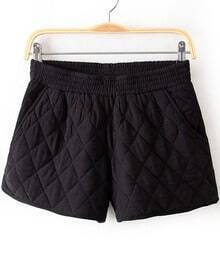 Black Elastic Waist Diamond Patterned Shorts
