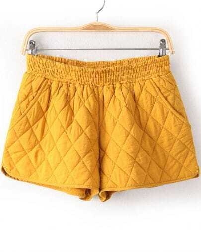 Yellow Elastic Waist Diamond Patterned Shorts