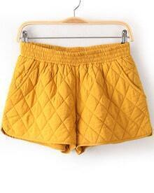 Yellow Elastic Waist Diamond Patterned Shorts