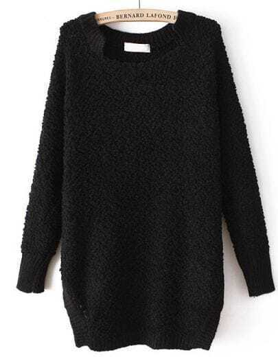 Black Long Sleeve Twisted Ball Loose Sweater