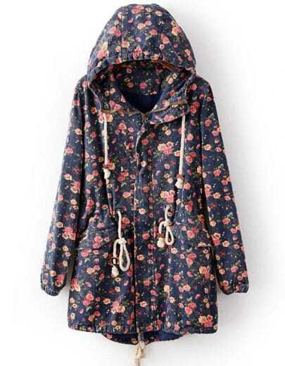 Blue Hooded Long Sleeve Floral Drawstring Coat