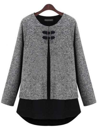 Grey Long Sleeve Contrast Hem Loose T-Shirt