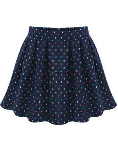 Navy High Waist Pleated Floral Skirt