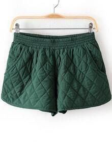 Green Elastic Waist Diamond Patterned Shorts