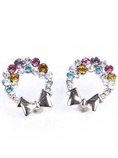 Multi Diamond Silver Bow Earrings