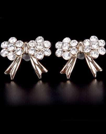 Gold Diamond Bow Stud Earrings