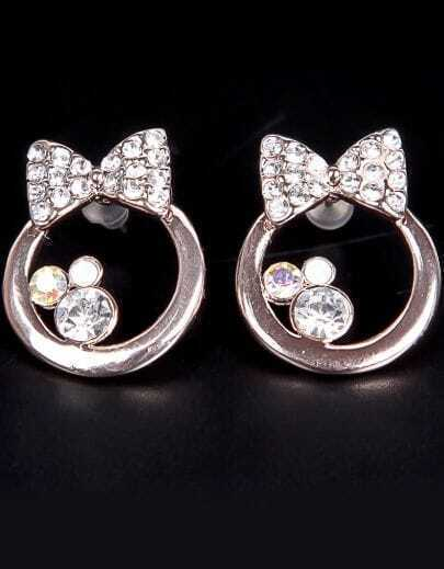 Gold Diamond Bow Earring