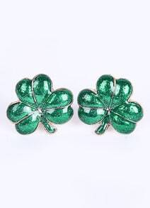 Green Glaze Leaf Gold Stud Earrings