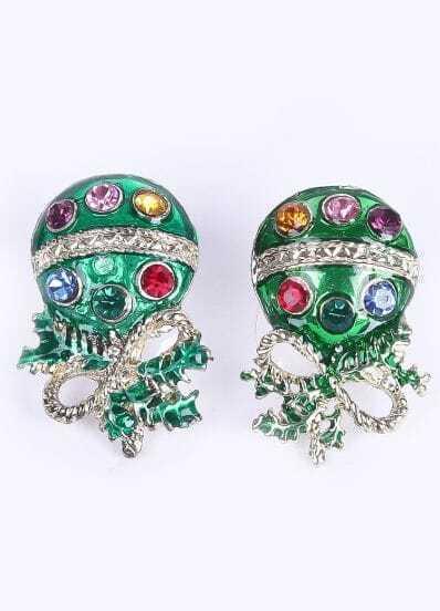 Multi Diamond Gold Coral Stud Earrings