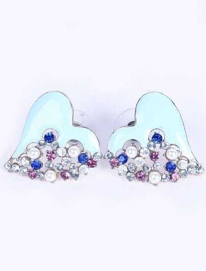 Blue Heart Diamond Stud Earrings