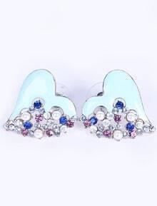 Blue Heart Diamond Stud Earrings