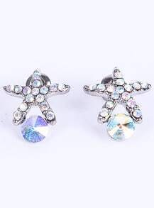 Silver Diamond Starfish Stud Earrings