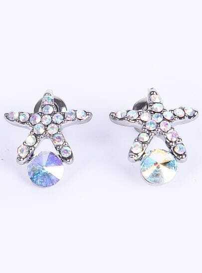 Silver Diamond Starfish Stud Earrings