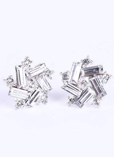 Silver Rectangle Diamond Stud Earrings