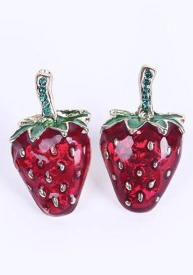 Red Glaze Strawberries Stud Earrings