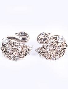 Retro Gold Diamond Rose Swan Stud Earrings