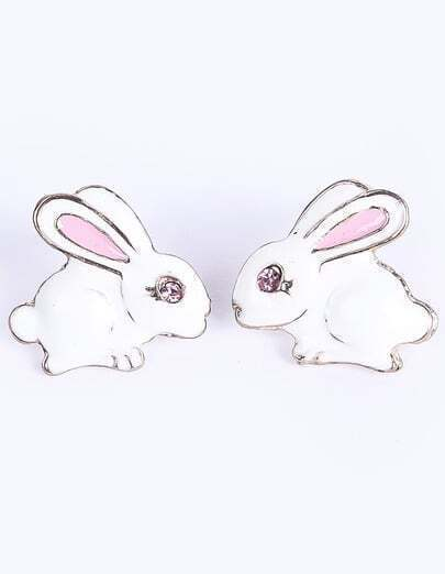 White Glaze Rabbit Stud Earrings