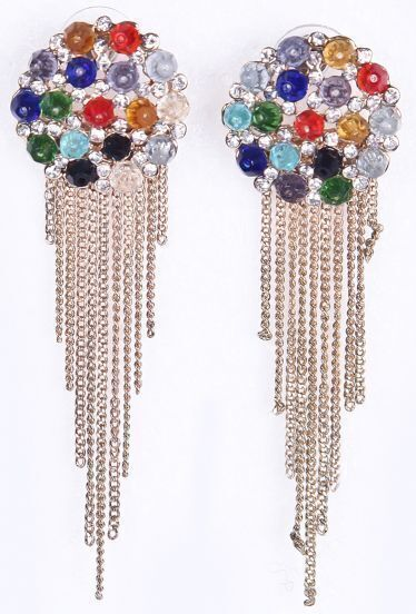 Multi Diamond Gold Chain Tassel Earrings