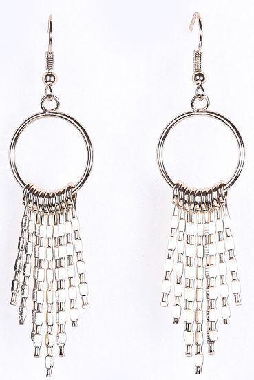 Gold Bars Tassel Dangle Earrings