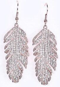 Silver Diamond Leaf Dangle Earrings