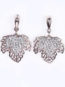 Gold Diamond Hollow Leaf Earrings