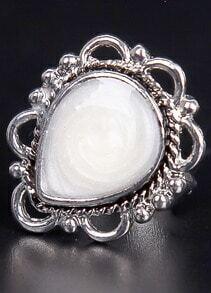 White Drop Glaze Silver Ring