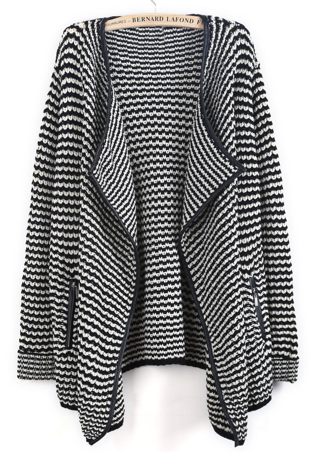 Black White Striped Contrast PU Leather Cardigan -SheIn(Sheinside)