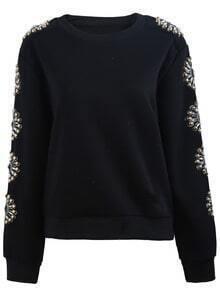 Black Long Sleeve Bead Embroidered Sweatshirt