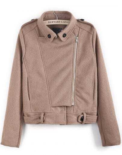 Camel Long Sleeve Zipper Epaulet Woolen Coat