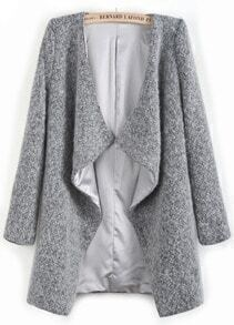 Grey Long Sleeve Asymmetrical Lapel Woolen Coat