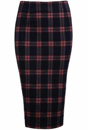 Blue Split Plaid Bodycon Skirt