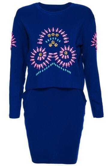 Blue Long Sleeve Bead Knit Sweater With Skirt