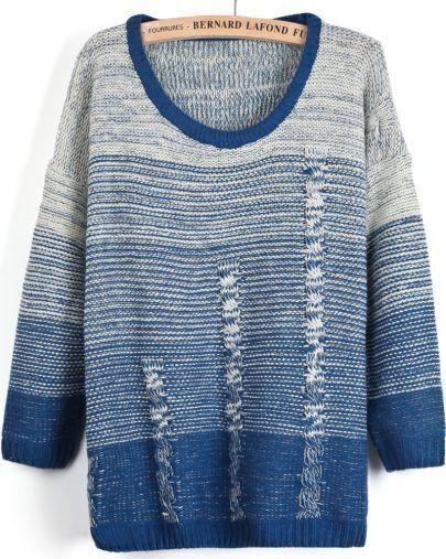 Blue Gradients Long Sleeve Knit Sweater